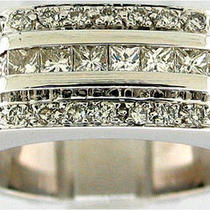 1.25ctw Princess Cut &ampamp Round Diamond men&amp039s 18k Wg Ring Photo