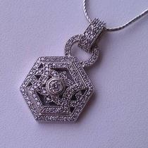 14 K White Gold Vintage Diamond Pendant With Chain - 2.0ct Tw Photo