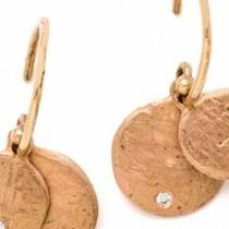 14K Gold Double Disc Earrings With Diamond Photo