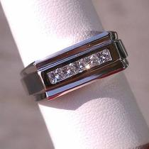 14k-Wg men&amp039s Princess Cut Diamond Wedding Band-.50ctw Photo