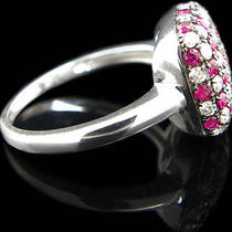14k White Gold 1.18ctw Diamond &ampamp Ruby Checkerboard Style Cocktail Ring Photo