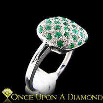 14kt White Gold 1.12ctw Diamond &ampamp Emerald Checkerboard Style Ring Photo