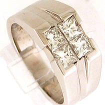 1.85ctw men&amp039s Princess Cut Diamond Ring 14k White Gold Photo