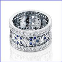 18k Solid White Gold Diamond Band. Photo