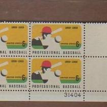 1969 BASEBALL 6 CENT STAMPS SCOTT #1381 PLATE BLOCK #31404 Photo