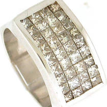2.00ctw Vs1-H Mens Princess Cut Diamond Ring 18k Wg Photo
