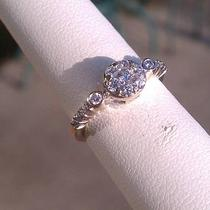 .20ct - 14 K White Gold Vintage Diamond Engagement Ring .45ct Tw Photo