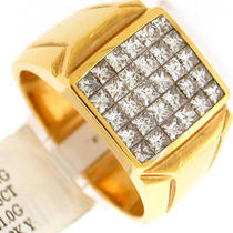 2.15ct Vsi-F Princess Cut men&amp039s Diamond Ring 18k Gold Photo