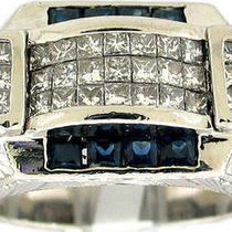 2.25ctw men&amp039s Princess Diamond &ampamp Sapphire Platinum Ring Photo