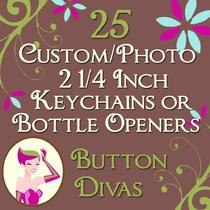 25 Custom or Photo 2 1/4 Inch Bottle Openers or Keychains Photo