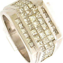 2.50ctw Vs1-G men&amp039s Princess Cut Diamonds Ring 14k Wg Photo