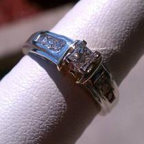 .25ct - 14 K White Gold Princess Cut Diamond Engagement Ring .50ct Tw Photo