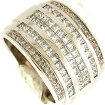 2.70ct Vs1-F Round &ampamp Princess Diamond men&amp039s Ring 14k Wg Photo