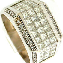 2.75ct Princess &ampamp Round Diamond Vs1 F Mens Ring 14k  Photo