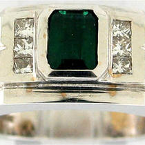 2ct Emerald &ampamp Princess Diamond Mens 18k White Gold Ring Photo