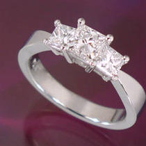 3-Stone Princess Cut Diamond Ring 2.70ct Tw Photo