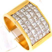 3.15ctw Princess Cut Diamond men&amp039s Wide Ring 18k Yg Photo