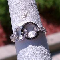 .32ctw women&amp039s 14 K White Gold Black and White Diamond-Infinity Ring Photo