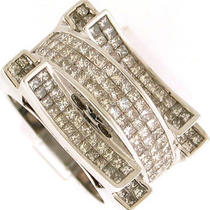 3.50ctw men&amp039s Princess Cut Huge Diamond Ring 14k Wg Photo