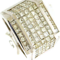 5.25ct Vs1-H Princess Cut Diamond Mens Huge Ring 14k Wg Photo