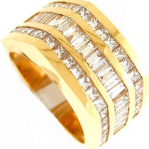 5.25ctw Baguette &ampamp Princess Diamond Mens Ring 14k Yg  Photo