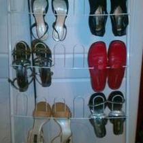 6 Pairs of Womans Shoes and Shoe Rack Photo