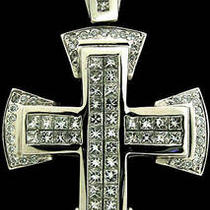 6.54ctw Princess Cut &ampamp Round Diamond Mens Cross Pendant Photo