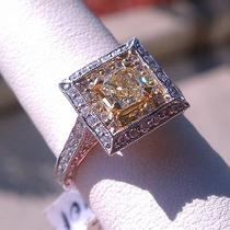 .75ct-18k W/g Vintage Canary Yellow Diamond Engagement Ring 1.60ctw Photo