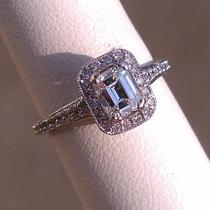 .75ct-18k W/g Vintage Emerald Diamond Engagement Ring 1.31ctw Photo
