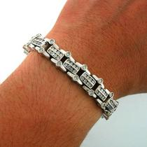 7.70ctw Round Cut men&amp039s Diamond Bracelet 14k White Gold Photo