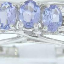 8189-10k White Gold Ladies 3 Oval Tanzanite Ring Photo