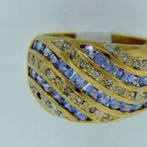 8268-3 14k Yellow Gold Tanzanite and Diamond Ring Photo