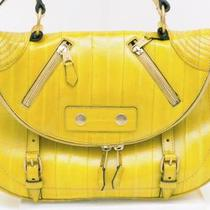 "Alexander McQueen Yellow Leather ""Faithful"" Shoulder Bag Photo"