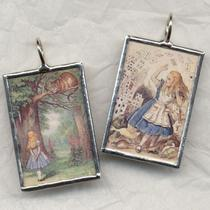 Alice in Wonderland Cat and Cards Art Glass Pendant Photo
