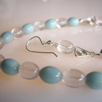Amazonite and Rose Quartz Necklace and Earrings Set Photo