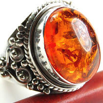 Amber 925 Sterling Silver Ring R3035 Photo