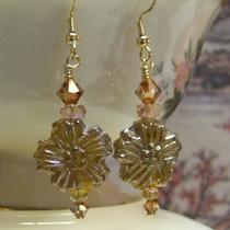 Amber Pressed Glass Flower Earrings Photo