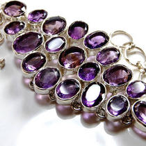Amethyst 925 Sterling Silver Bracelet 7637 Photo