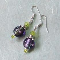 Amethyst Foil Lampwork Earrings Photo