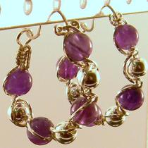 Amethyst Sterling Silver Hoop Earrings Photo