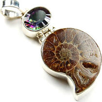 Ammonite &ampamp Mystic Topaz 925 Sterling Silver Pendant 5289 Photo