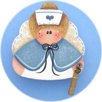 Angel Nurse Pin Blue (Hand Painted Wood) Photo