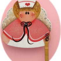Angel Nurse Pin (Hand Painted Wood Rose) Photo