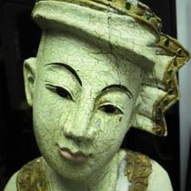 Antique Hand Carved Asian Cymbal Player Sculpture circa 1900 Photo