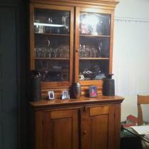 Antique Oak and Glass China Cabinet Photo