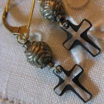 Antique Philippine Silver Bead & Crystal Cross Earrings Photo