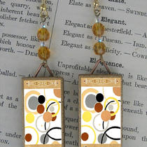 Art Nouveau/deco Print Mod Circles in Polka Dots Beaded Earrings Photo