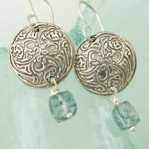 Art Nouveau Silver and Moss Aquamarine Earrings Photo