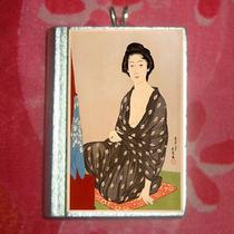 Asian Art -  Geisha in Black Kimono Vintage Postcard  Pendant Photo