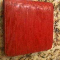 Auth Lv Louis Vuitton Epi Red Leather Wallet Bi Fold - Made in Fra Photo